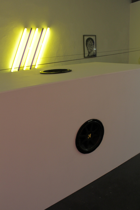 """""Scott Benzel, The Academy/The Chthonic at Eleusis"" at Public Fiction, installation view, 2012"""