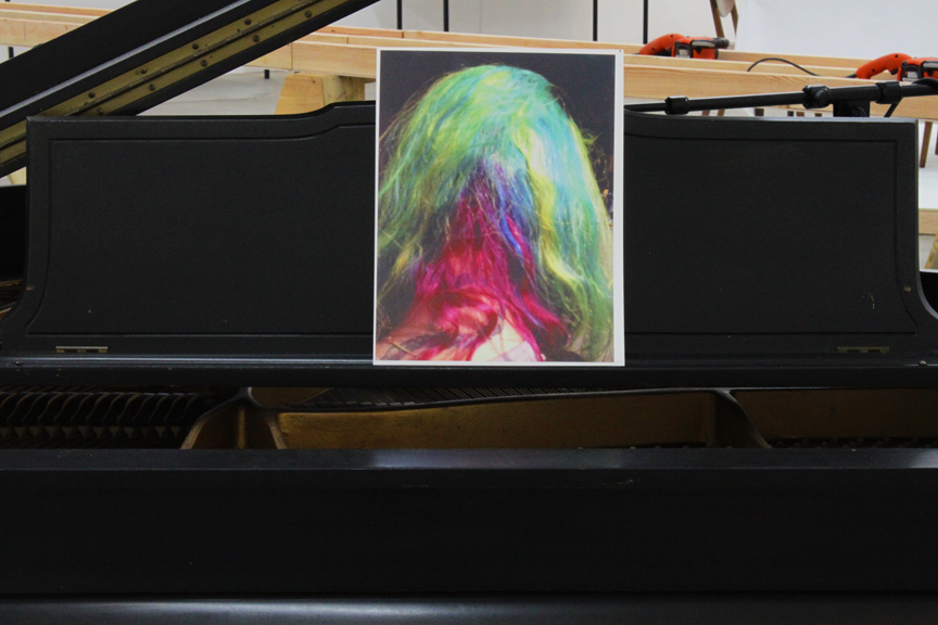 """Scott Benzel, Spectrum, 3 views, c-print, baby grand piano, egg vibrators, Kicker woofers, mics, XLR cables, 2013"""